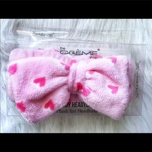 The Creme Pink Bow With Hearts Teddy Headband